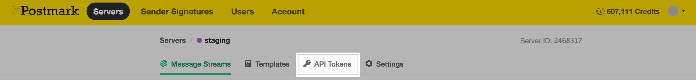 API Tokens tab