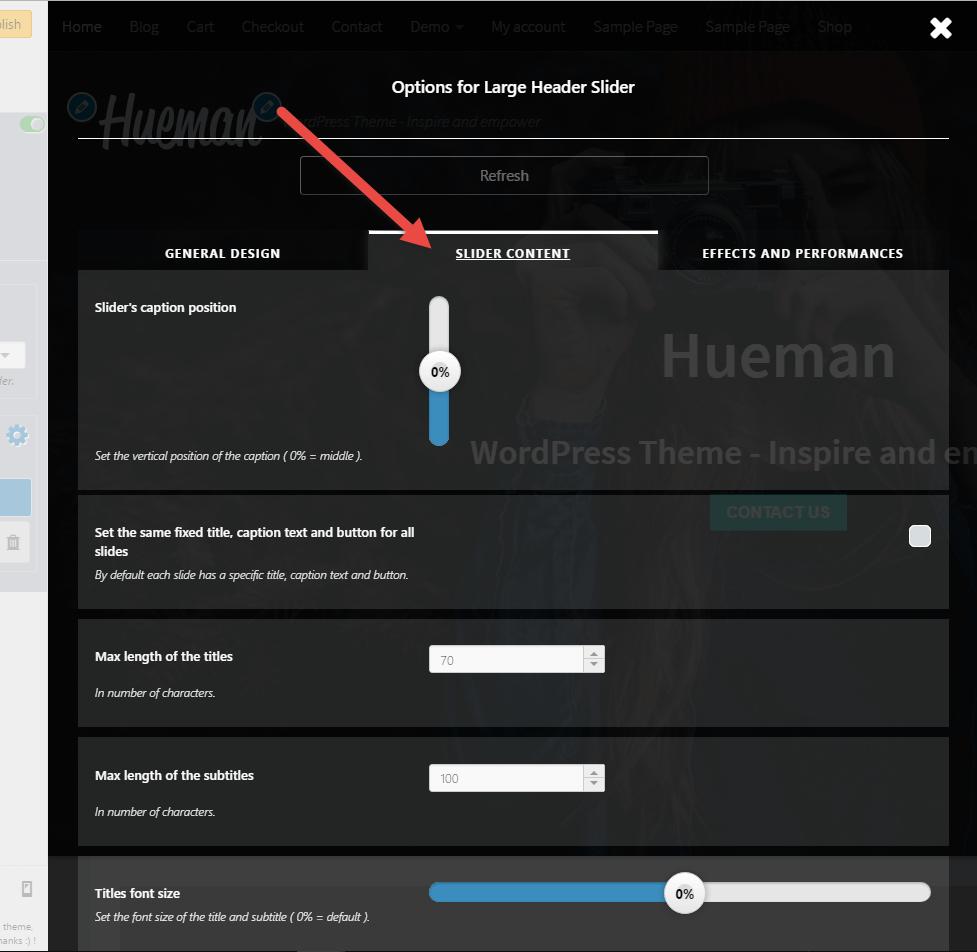 Slider content tab