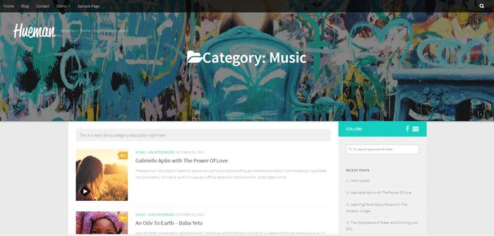 Music category slider half-window