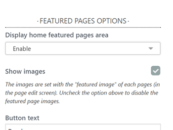 Featured pages customizer