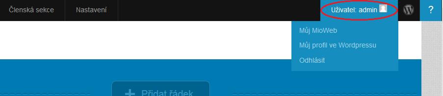 Přepnutí do profilu uživatele