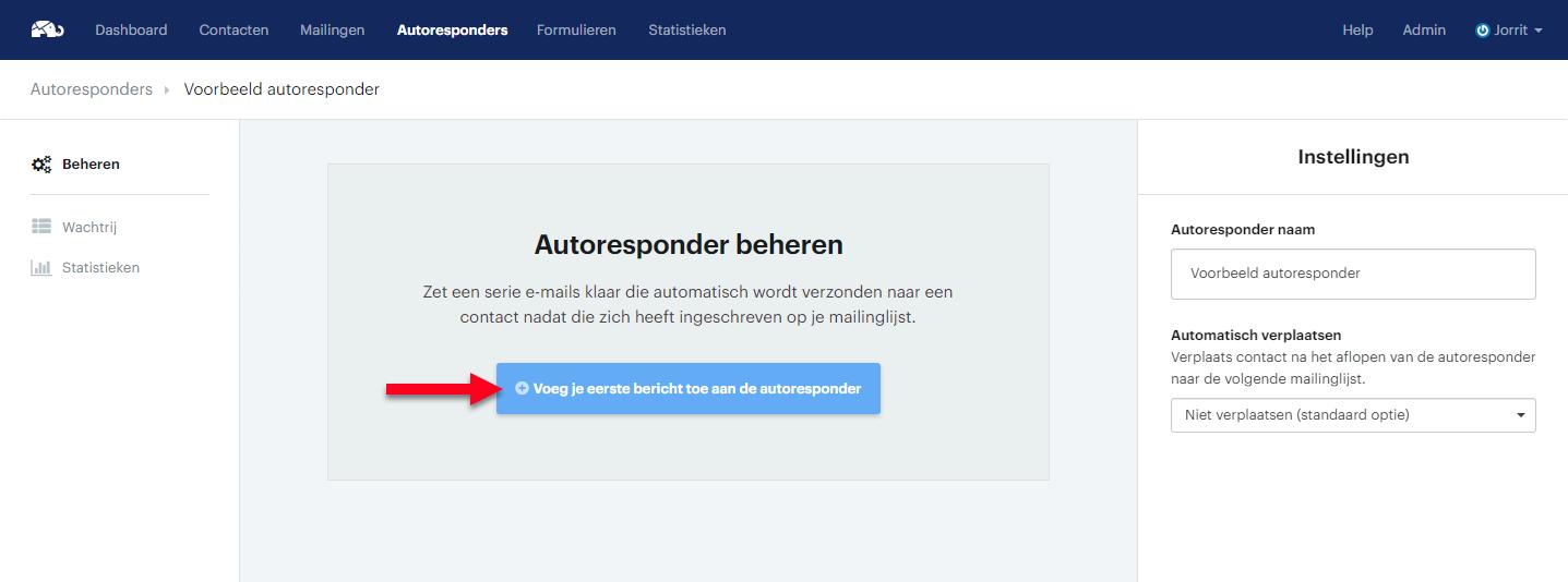 Nieuwe autoresponder bericht aanmaken