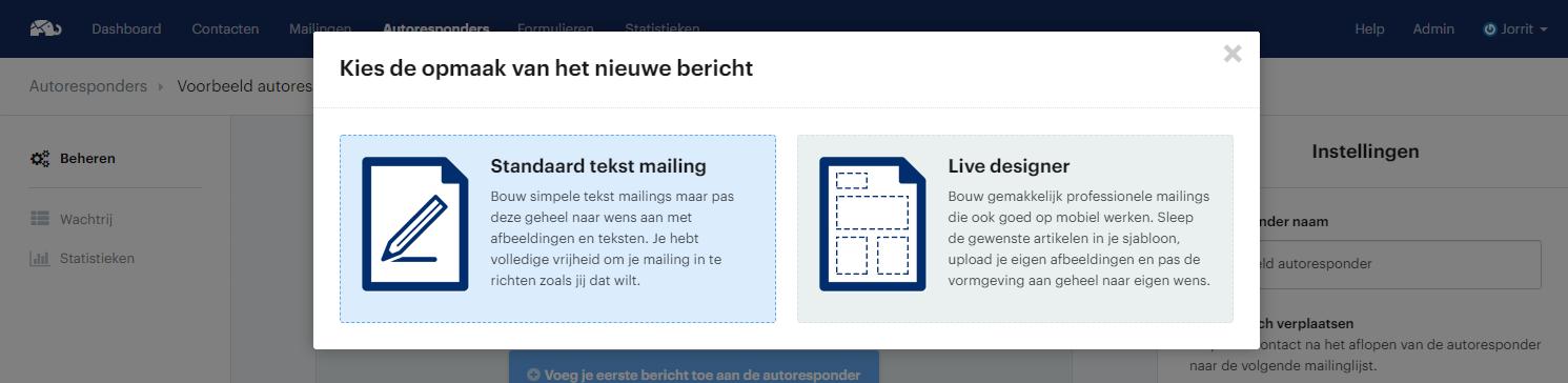 Mailing kiezen