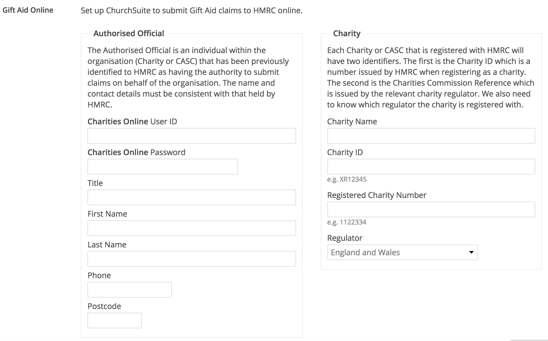 Reclaiming gift aid through churchsuite uk only churchsuite in the right box especially the charities online user id not to be confused with the charity id and the charity number 3 different things negle Images