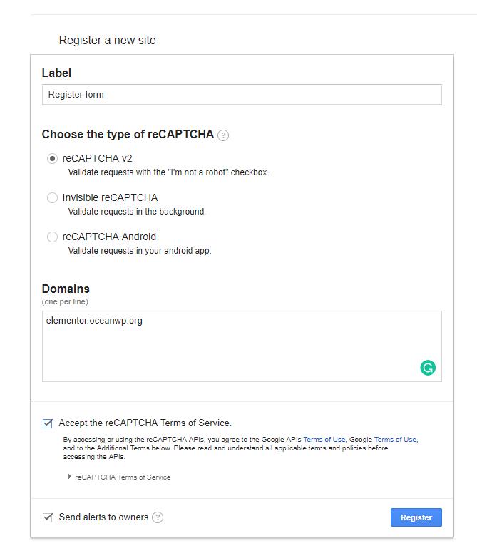 Get your Google reCAPTCHA Site Key and Secret Key - Documentation