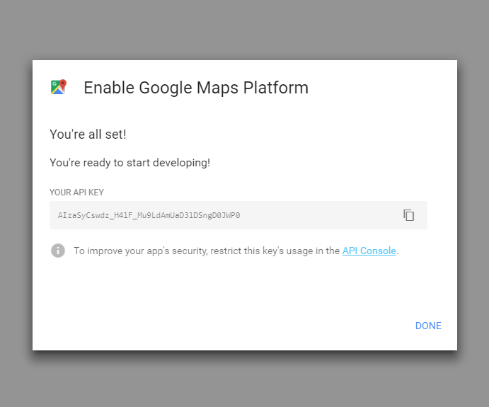 Get your Google Map API Key - Documentation