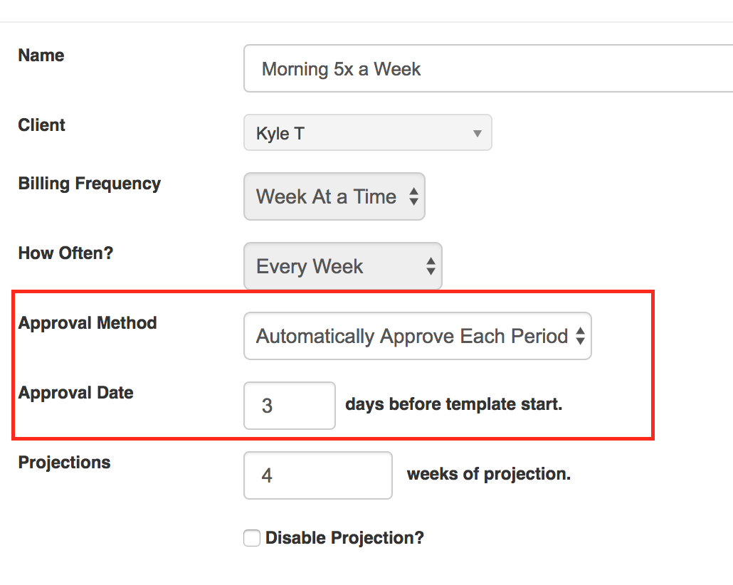 Approval Details for Auto Approving Template