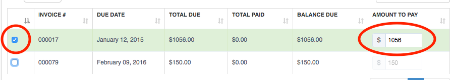 Select invoice and Amount