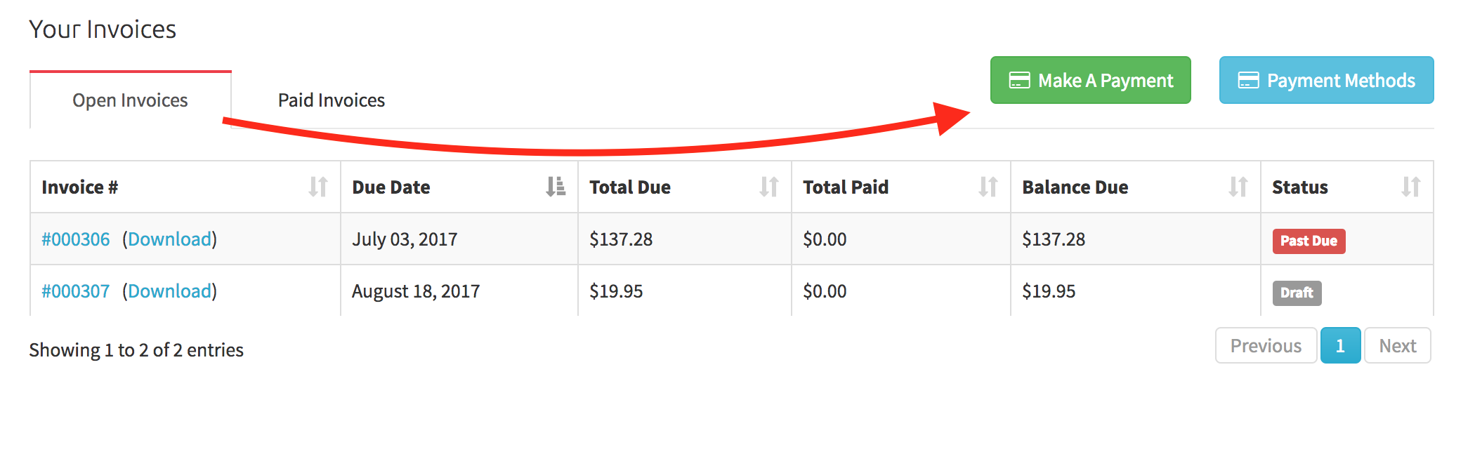 """View of the """"Make A Payment"""" button in client portal"""