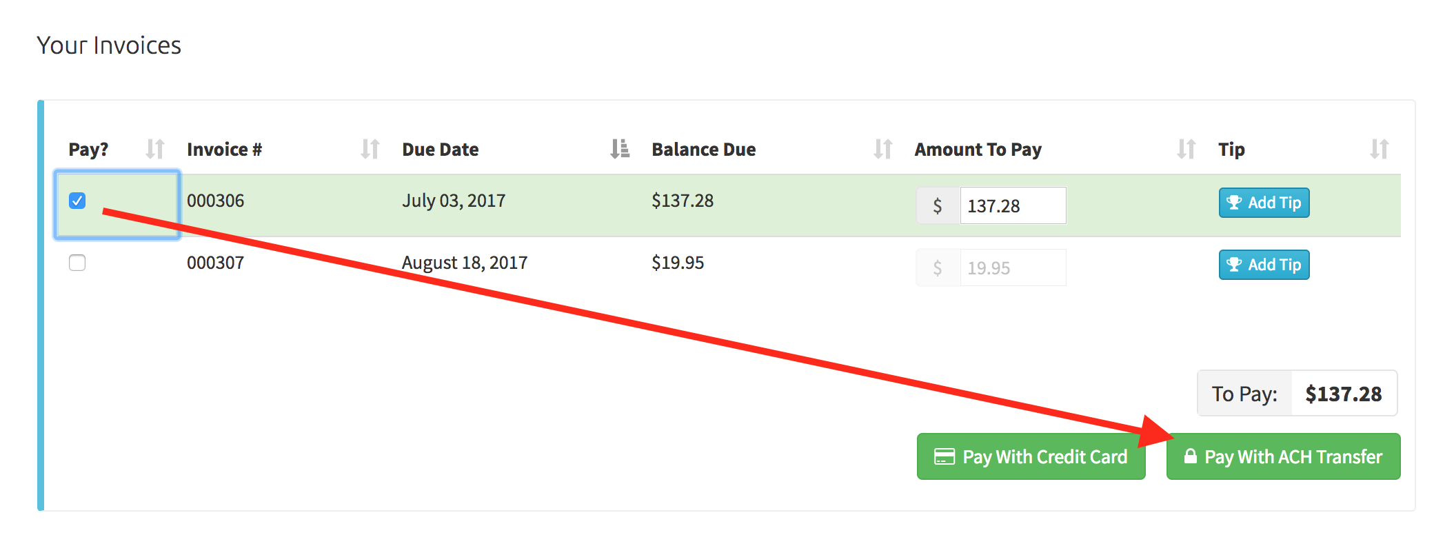 """View of the """"Pay With ACH Transfer"""" button in the client portal"""