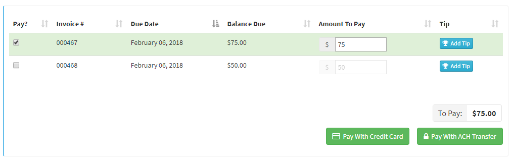list of invoices available to pay with check boxes on the left hand side