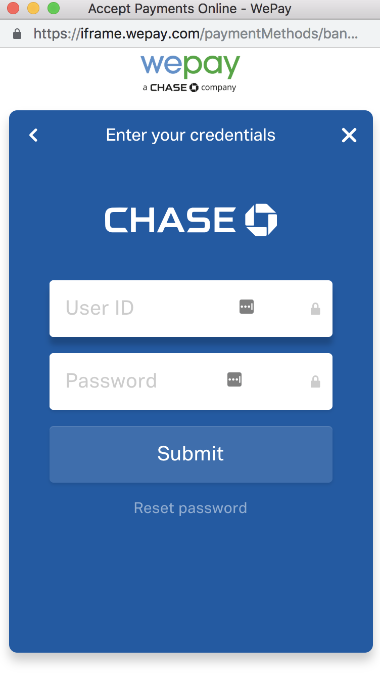 View of sample screen for adding bank account log in credentials for WePay