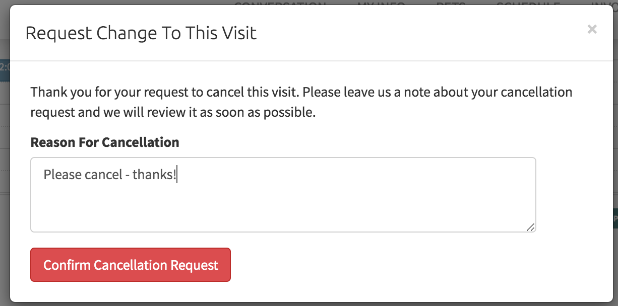 Pop up window to add reason for cancellation request
