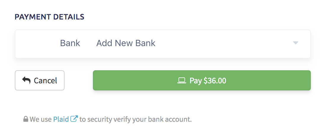 "View of ""Add New Bank"" screen in client portal"