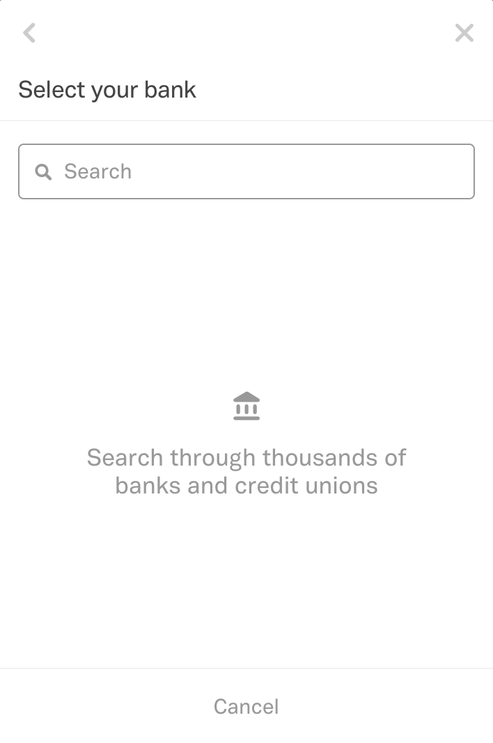 View of search screen if client's bank is not listed