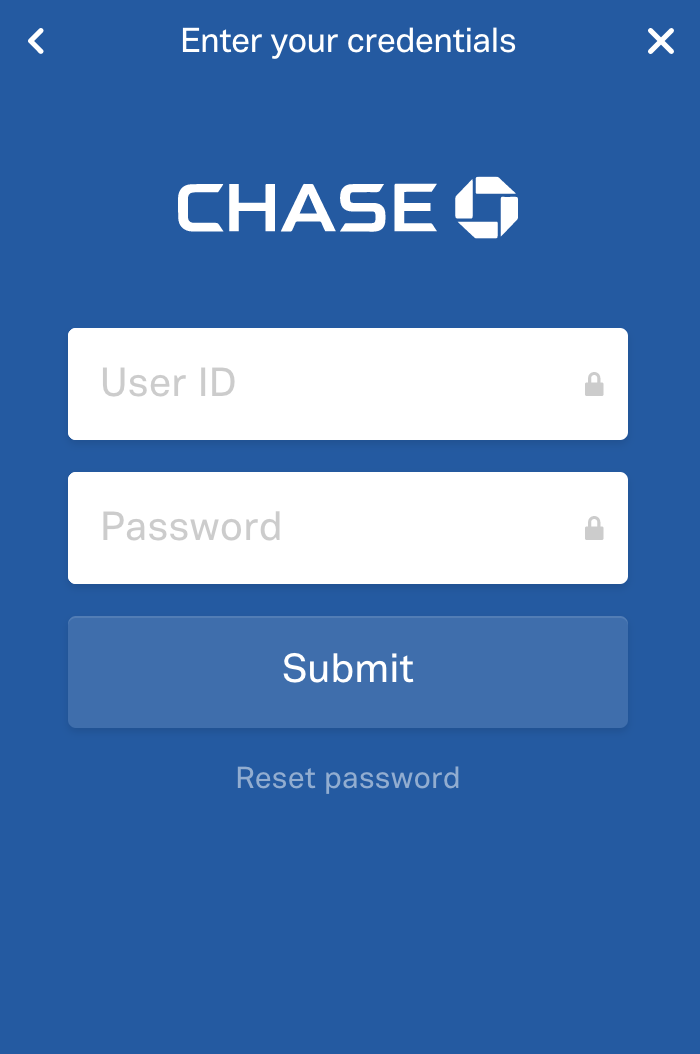 View of sample screen for Chase bank to enter log in credentials