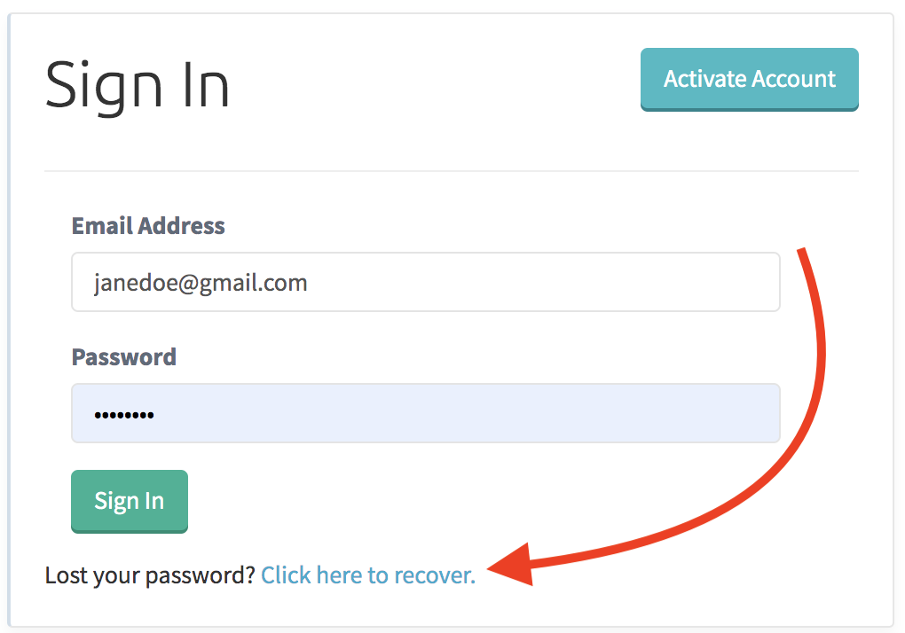 Login page with arrow pointing to the password recovery link