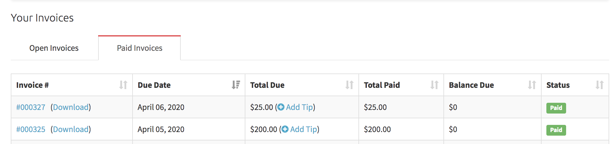 paid invoices tab in the client portal