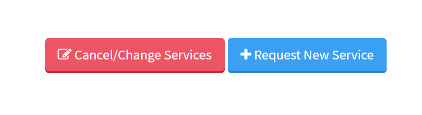 """Image of red Cancel/Change button and blue """"Request New Service"""" button"""
