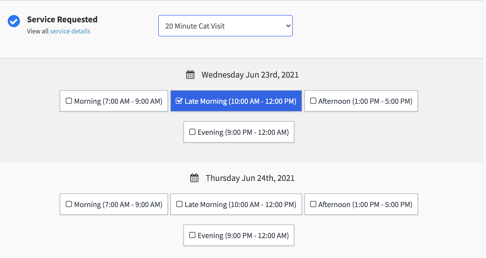Image of service order request form with a 20 Minute Cat Sitting service select from dropdown and schedule block check box options