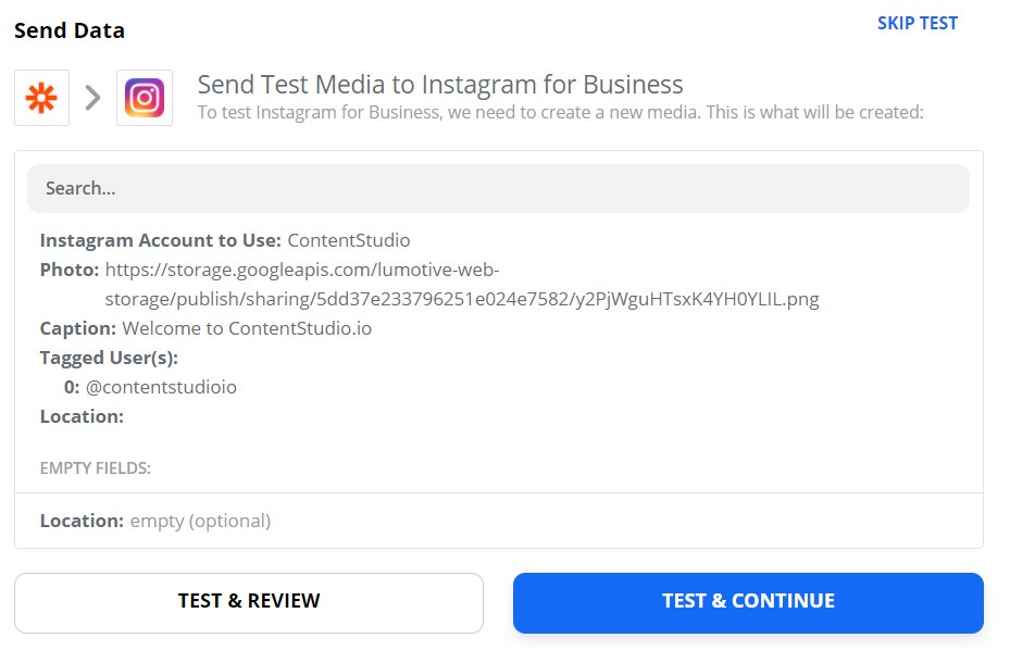 Send Test Media to IG for Business