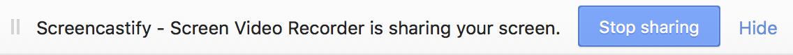 screencastify desktop sharing notification