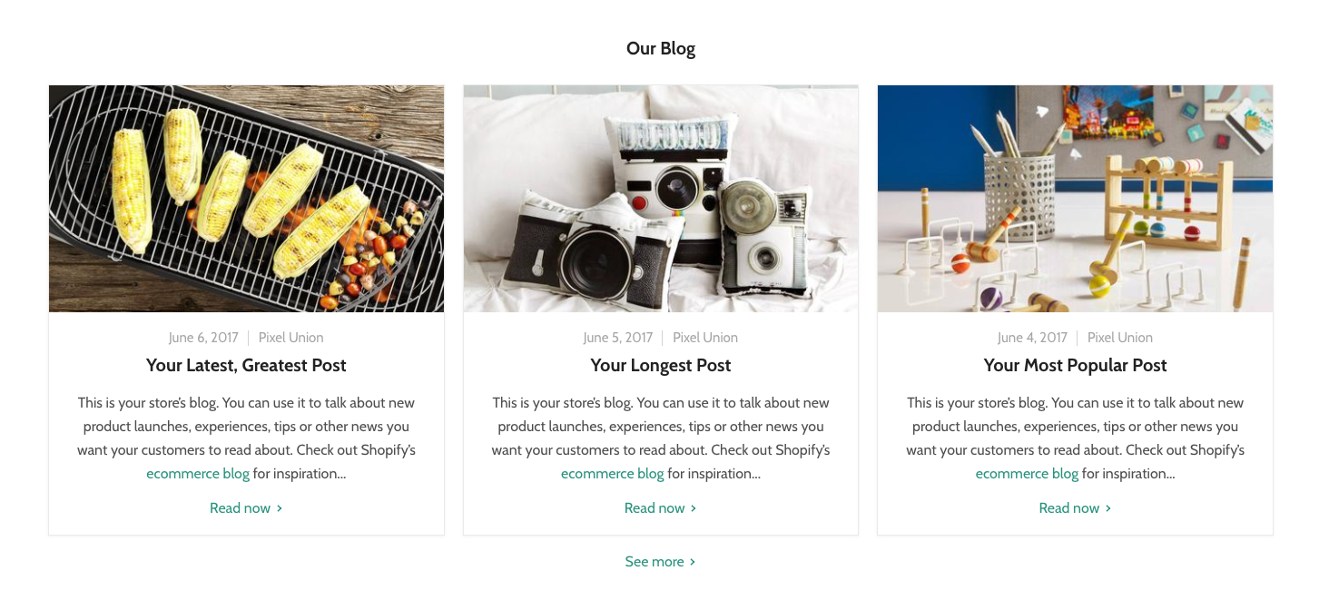 Empire's blog section for home page