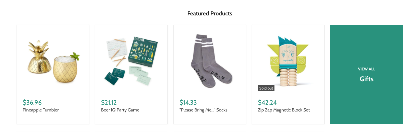 Empire's featured products section