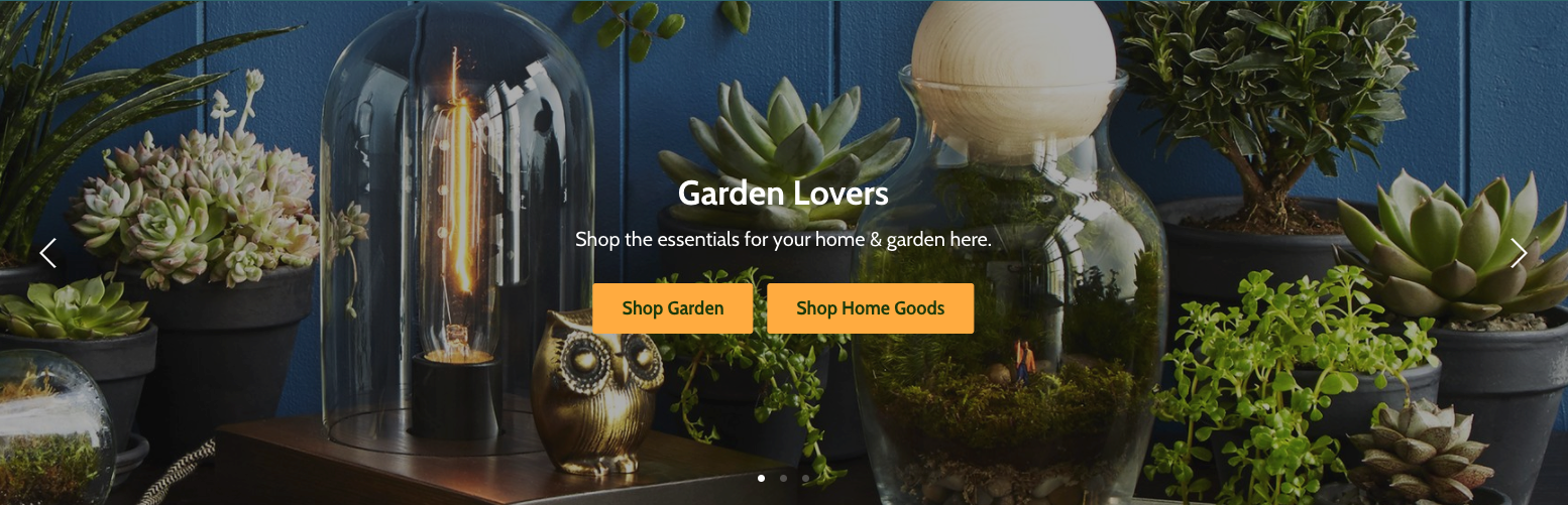 Empire slideshow with plants and overlay text and button
