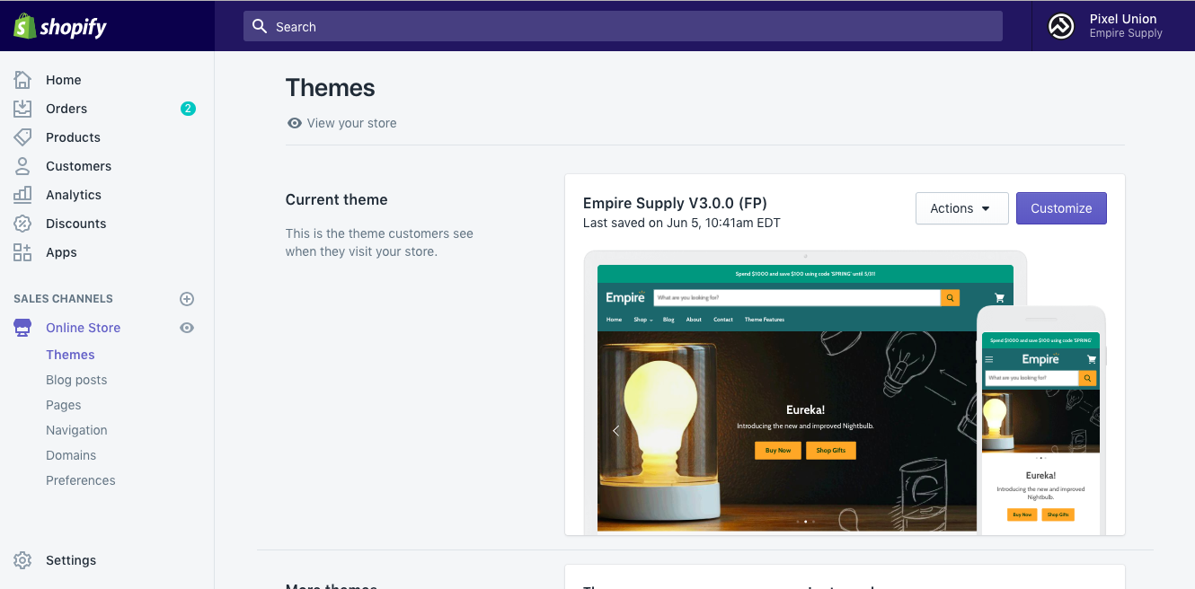 Online store with Empire as the published theme