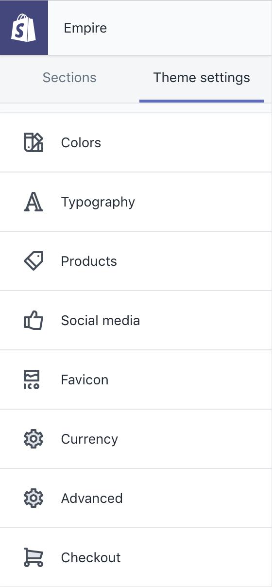 Theme editor sidebar showing Empire's theme settings