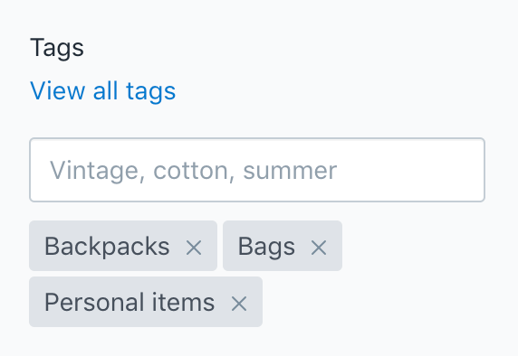 Tag settings in product admin
