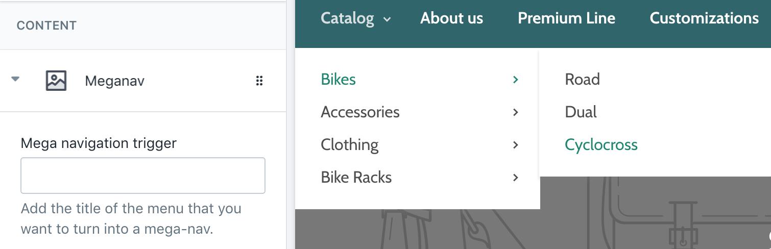 Mega-nav settings in theme editor