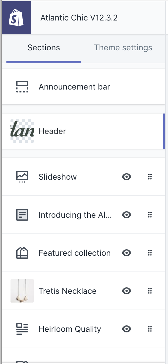 Sections in theme editor sidebar
