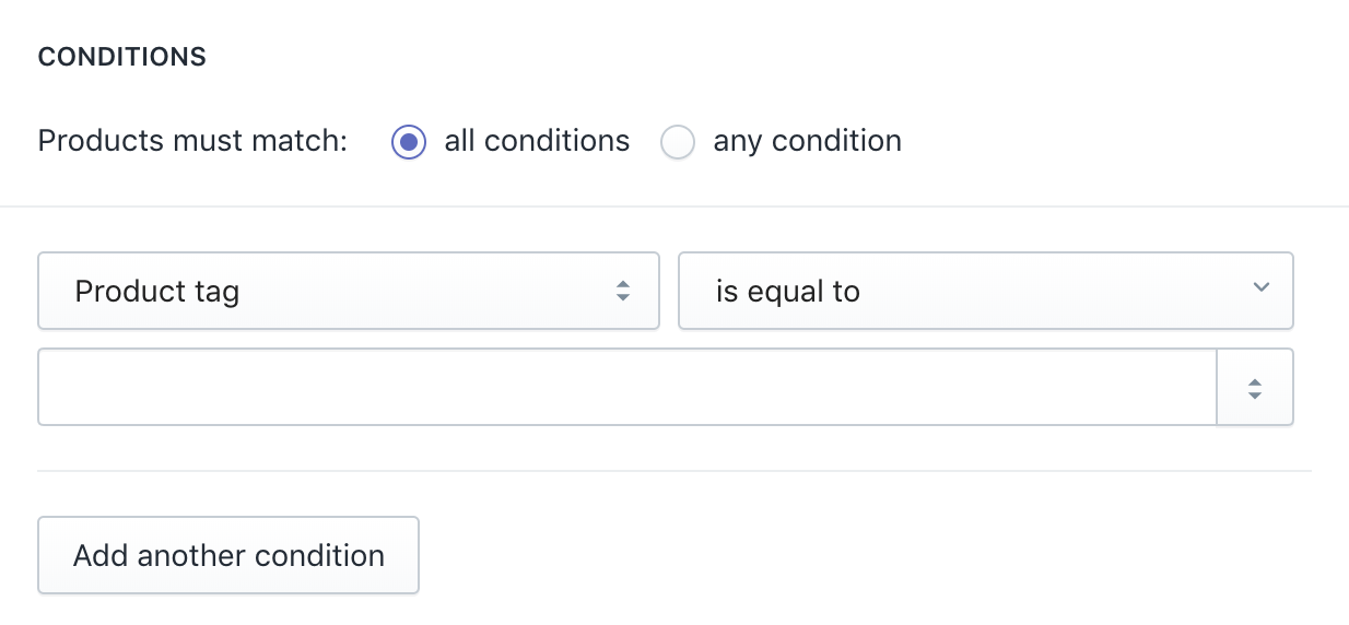 Automatically select product for collection condition