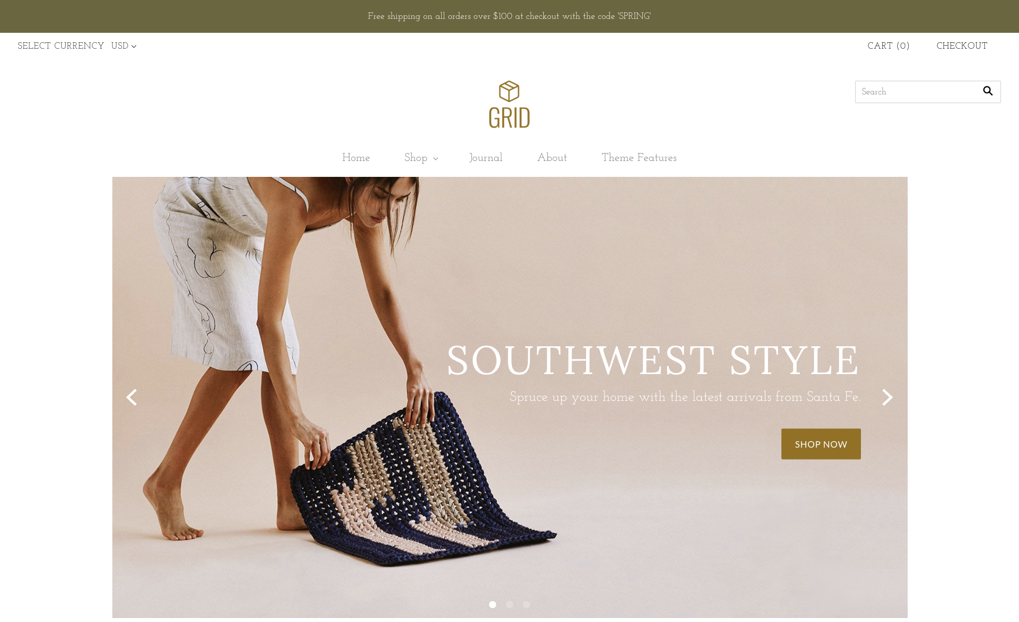 Grid bright demo home page with header and slideshow