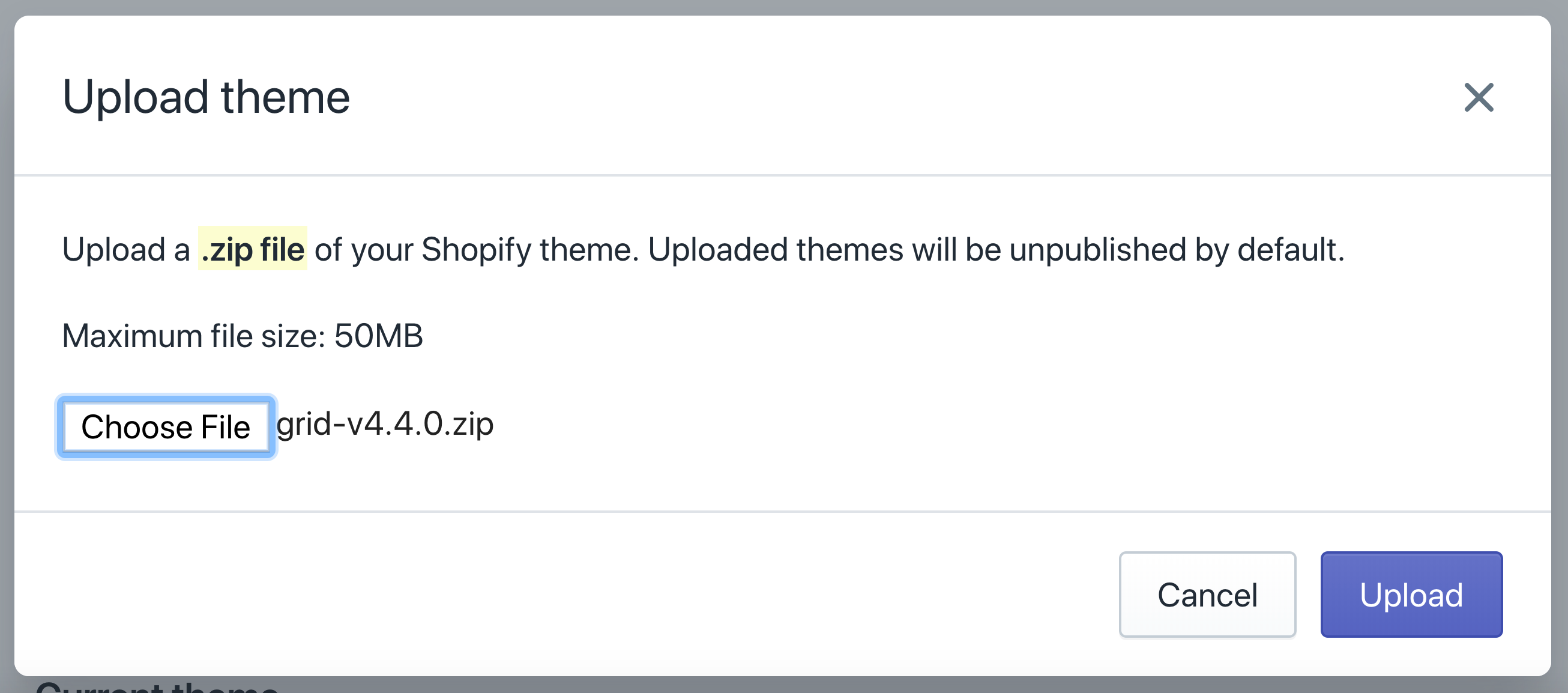 Online store's upload theme popup with Grid 4.4.0 loaded