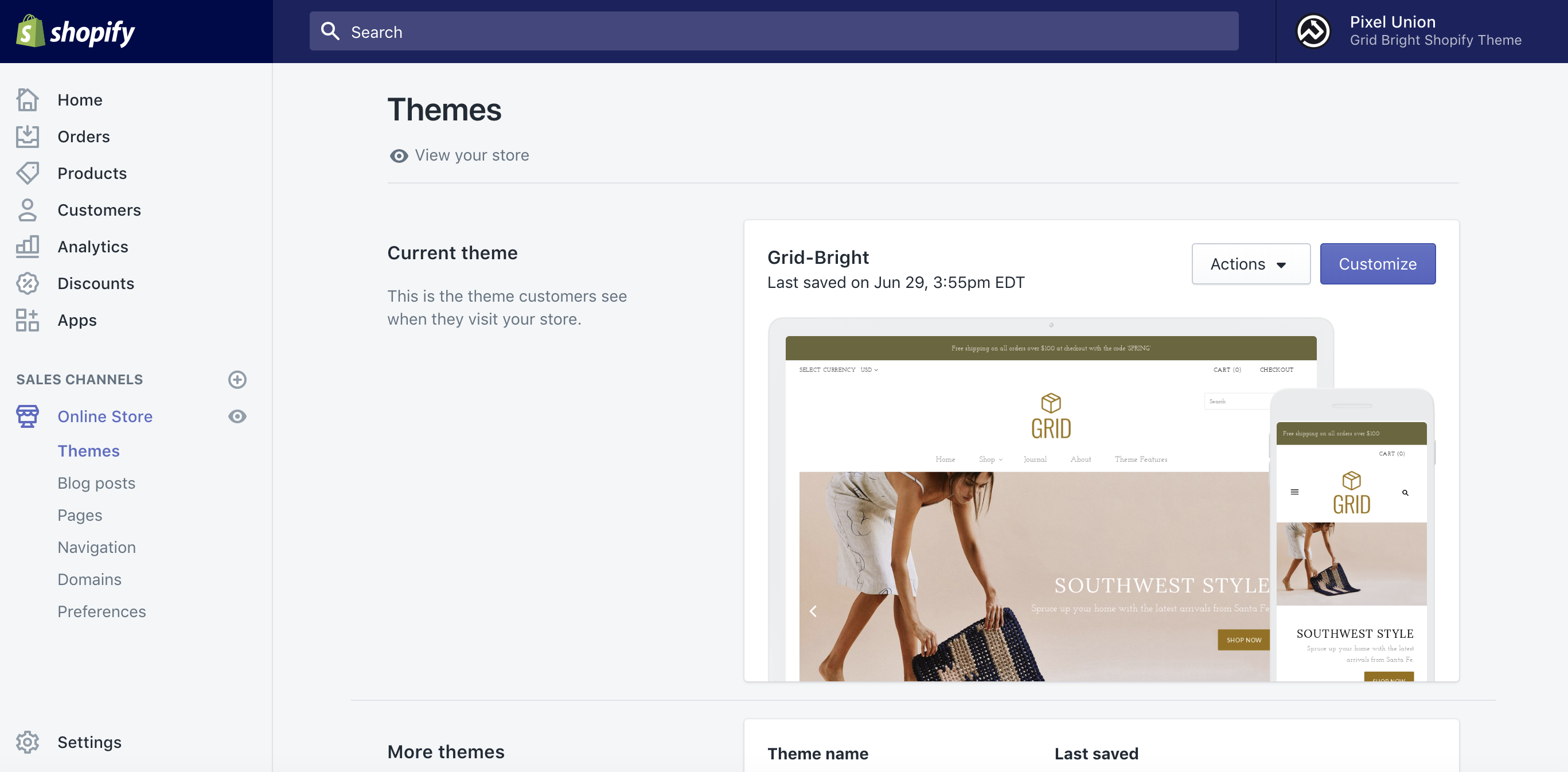 Grid as published theme in Shopify's Online store window