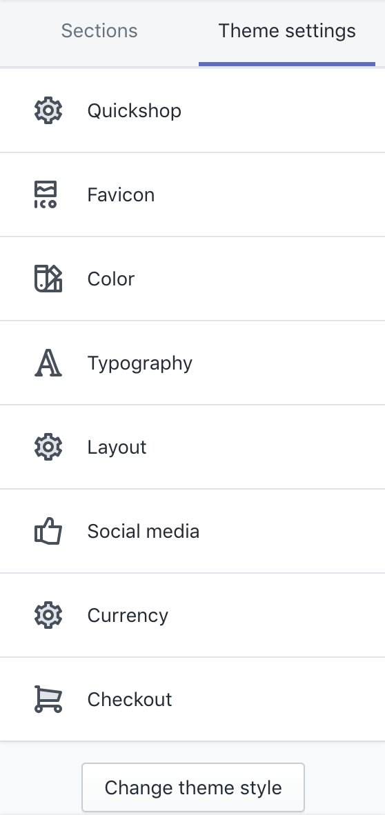 Theme settings categories as they appear in theme customizer