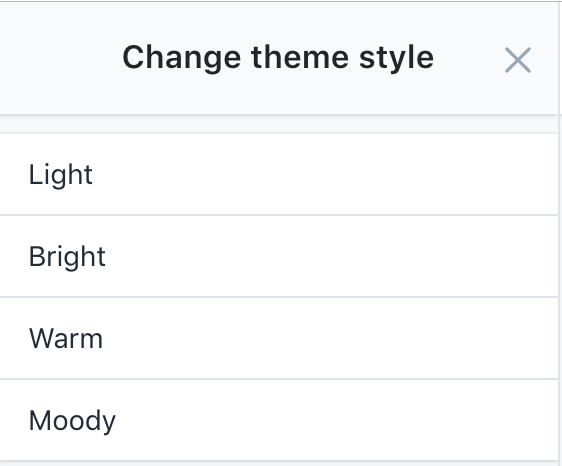 Theme style selector with four style options