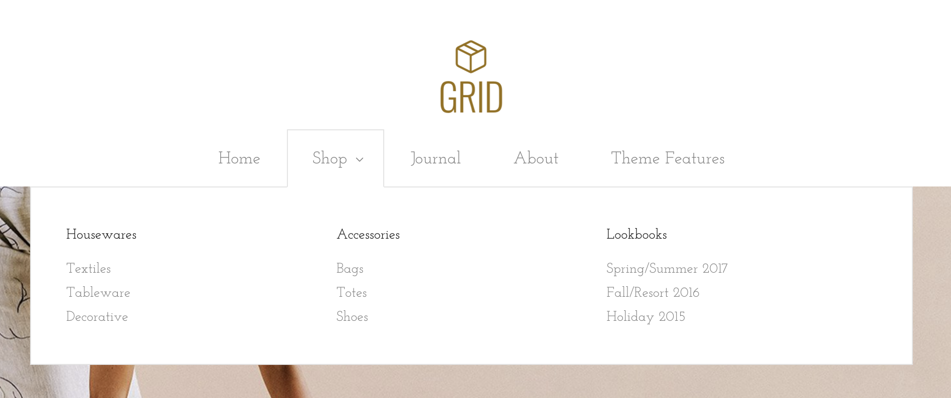 Mega-nav in Grid Bright demo