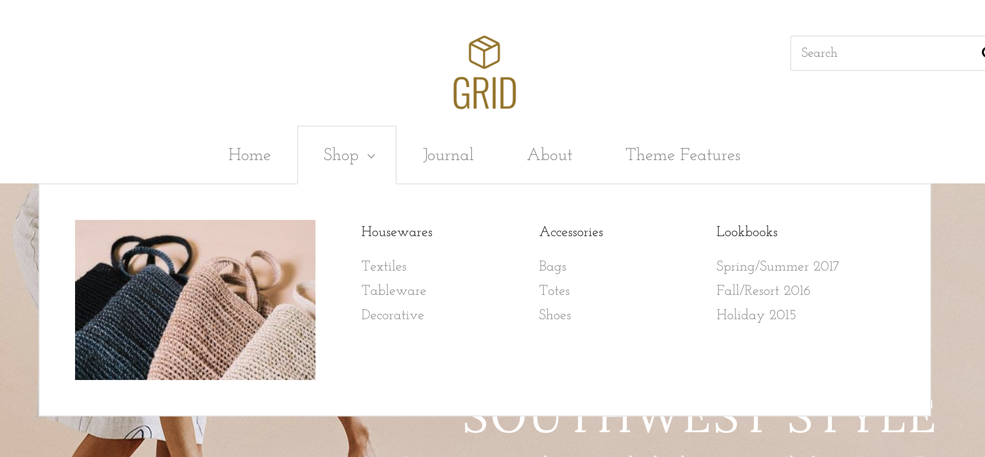 Grid Bright demo's Mega-nav with optional featured image