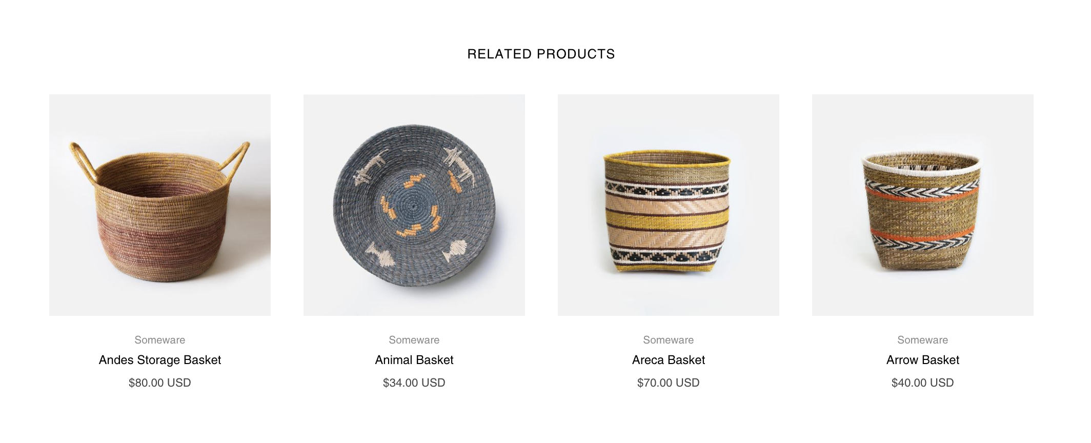 Related products feature on product page