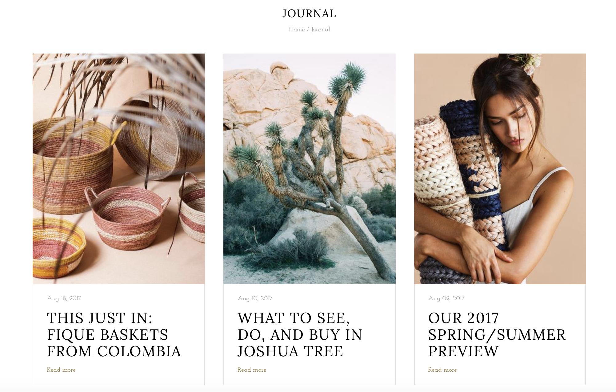Blog page displaying 3 recent blog posts