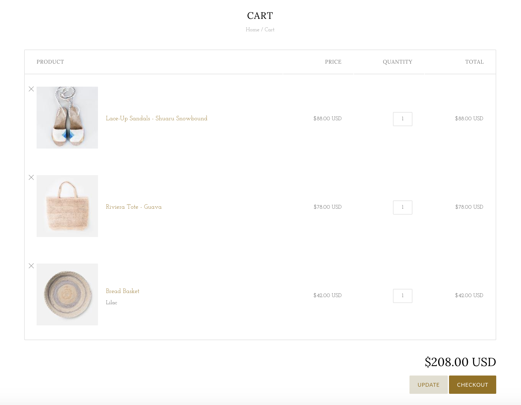 Cart page in Grid bright demo with three products added