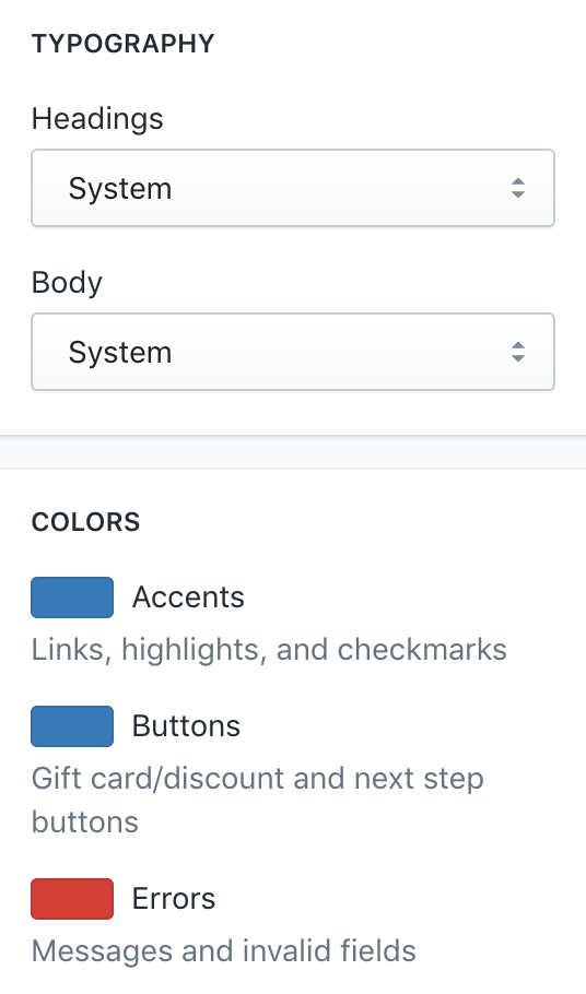 Colors and Typography in Checkout settings