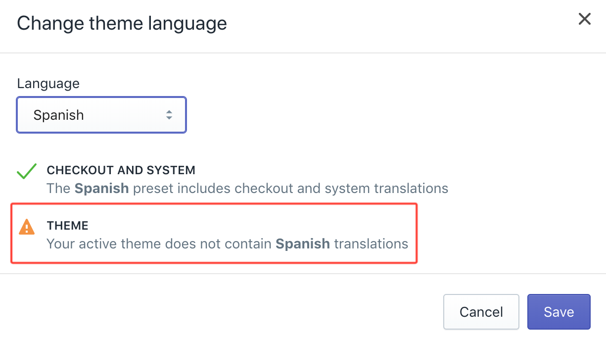 Change theme language with conflicting language issue