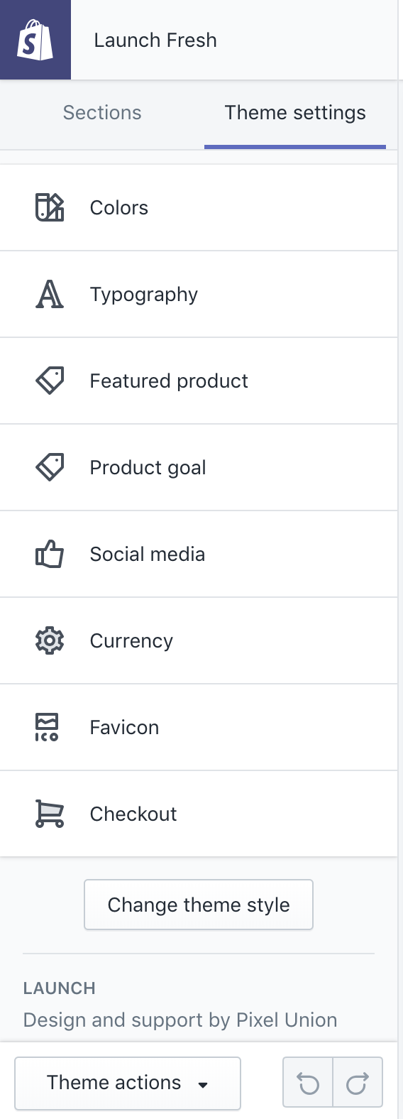 Theme settings in Launch Fresh Demo