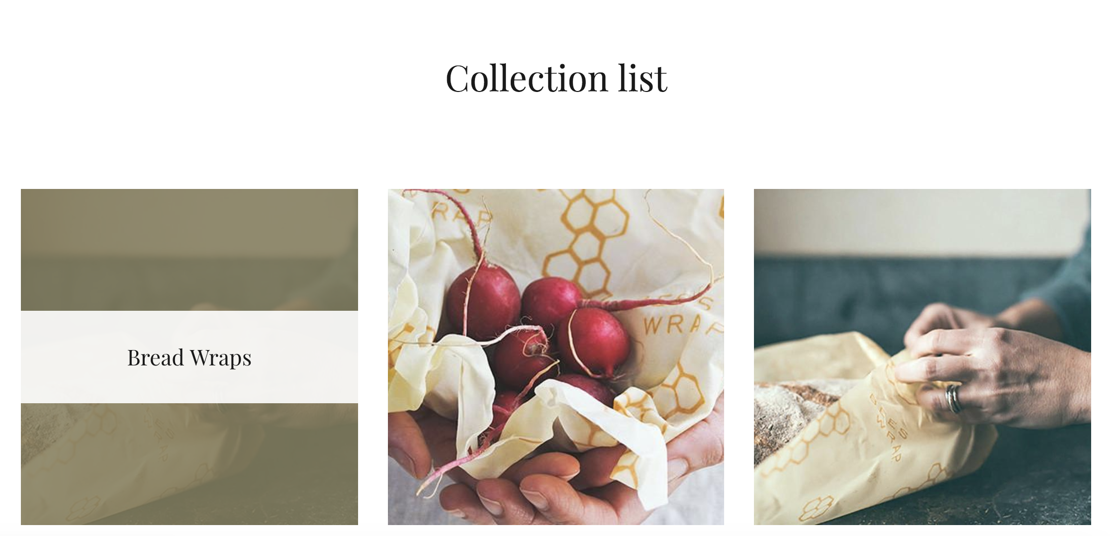 3 collections displayed in Collection list section