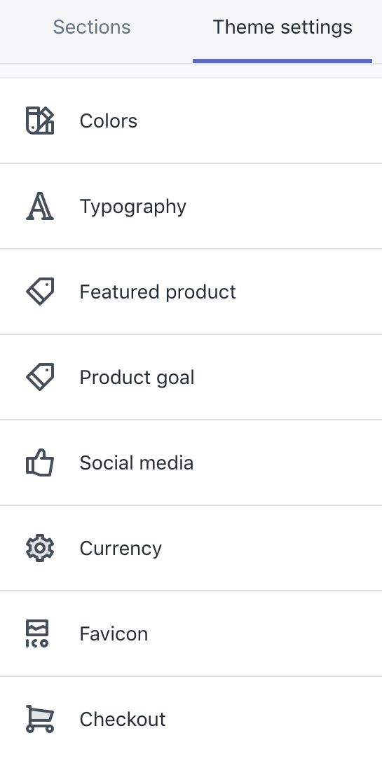 Theme settings in theme editor sidebar